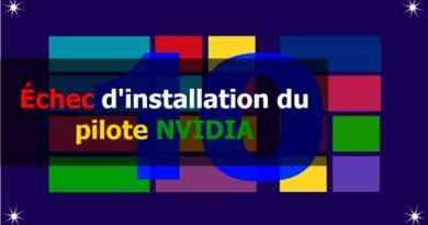Échec d'installation du pilote nvidia sur windows 10
