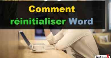 Comment réinitialiser Word